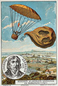 Ilustração do primeiro paraquedista do mundo